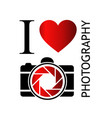 i love photography- with camera and red heart vector image vector image