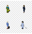 isometric person set of plumber hostess vector image vector image