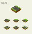 isometric road set of subway downward footer and