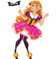 Little girl in masquerade suit vector image vector image