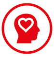 love in head rounded icon vector image