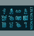 old age set icons blue glowing neon style vector image