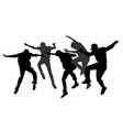 party dancer people boys silhouette party crew vector image