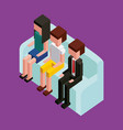 people sitting in sofa comfort furniture isometric vector image