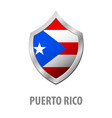 puerto rico flag on metal shiny shield vector image