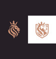royal king lion crown symbols vector image