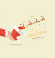 santa claus with reindeer sleigh flying out of vector image vector image