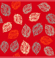 seamless pattern with leaves on red background vector image