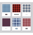 set of artistic abstract cards with tartan vector image vector image