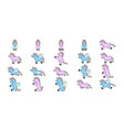 set of cute unicorns in cartoon style vector image
