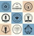 Set of vintage logos of rock music vector image vector image