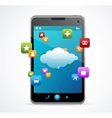 Smart phone with blue screen cloud-computing vector | Price: 3 Credits (USD $3)