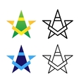 Star Logo Template Set Colored Black And White vector image vector image