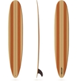 surfing longboard with wooden texture vector image