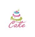 sweet cake design vector image vector image