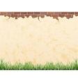 Vintage wall brick and grass vector image vector image