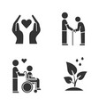 volunteering glyph icons set charity project vector image vector image