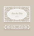 wedding card and lace border pattern vector image vector image