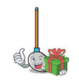 with gift mop mascot cartoon style vector image vector image