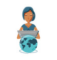 woman with laptop and planet earth vector image vector image