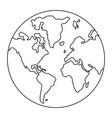 world map symbol isolated black and white vector image vector image