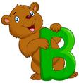 Alphabet B with bear cartoon vector image vector image