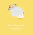 baby arrival announcement with beautiful swan vector image vector image