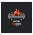 barbecue grill logo bbq with fire sign on black vector image vector image