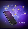 bitcoin cryptocurrency blockchain world trade vector image