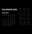 calendar 2020 isolated on black background
