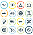 car icons set with electric car key signal and vector image