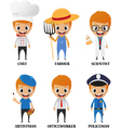 Cartoon characters with different profession vector image vector image