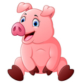 cartoon happy pig sitting vector image vector image