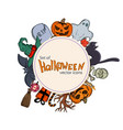 circle shape template with halloween icons vector image vector image