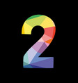 colorful number 2 isolated on black background vector image