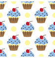 cupcake pattern blue white background vector image