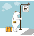 cute polar bear on vacation at bus stop in summer vector image vector image