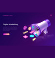 digital marketing isometric concept with megaphone vector image vector image