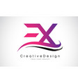 ex e x letter logo design creative icon modern vector image vector image