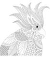 exotic tropical zentangle cockatoo parrot vector image vector image