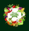 farm vegetables round frame organic veggies vector image vector image