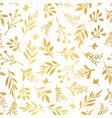 gold foil florals seamless background vector image vector image