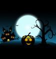 halloween background include castle pumpkin bat vector image