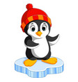 happy cartoon penguin on ice vector image vector image