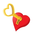 Heart-shaped padlock with key cartoon icon vector image