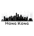 hong kong city skyline black and white silhouette vector image vector image