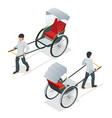 isometric hand pulled rickshaw rickshaw china or vector image vector image