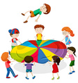 Kids playing bouncing on the mat vector image vector image