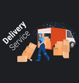 man courier loading cardboard boxes in lorry truck vector image