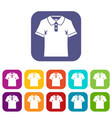 men polo shirt icons set flat vector image vector image